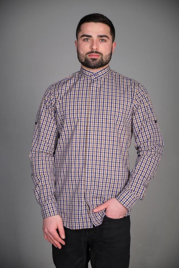 Рубашка мужская для официанта и бармена в клетку