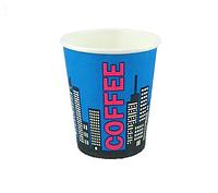 Посуда бумажный Стакан кофейный цветной 0,175 мл Сити(синий) п/м, 1/50шт/50шт