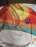 Пляжное покрывало | Пляжный плед | Пляжный коврик   | Пляжное круглое полотенце. Закат 2, фото 2