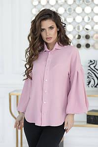 Рубашка цвета пудры с широким рукавом