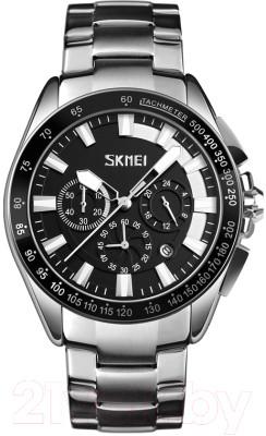 Skmei 9167 черные с белыми вставками мужские классические часы