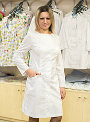 Медицинский женский халат без воротника Белый