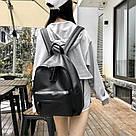 Женский кожаный рюкзак черный большой., фото 5
