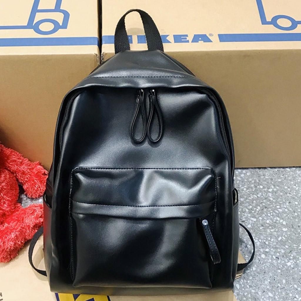 Женский кожаный рюкзак черный большой.