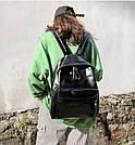 Женский кожаный рюкзак черный большой., фото 3