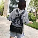 Женский кожаный рюкзак черный большой., фото 4