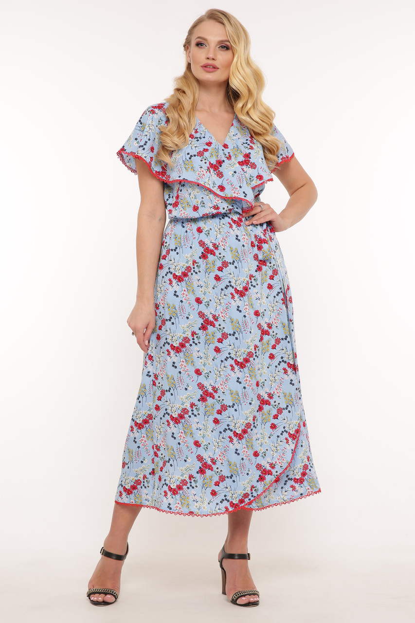 Платье на запах Сафина голубое