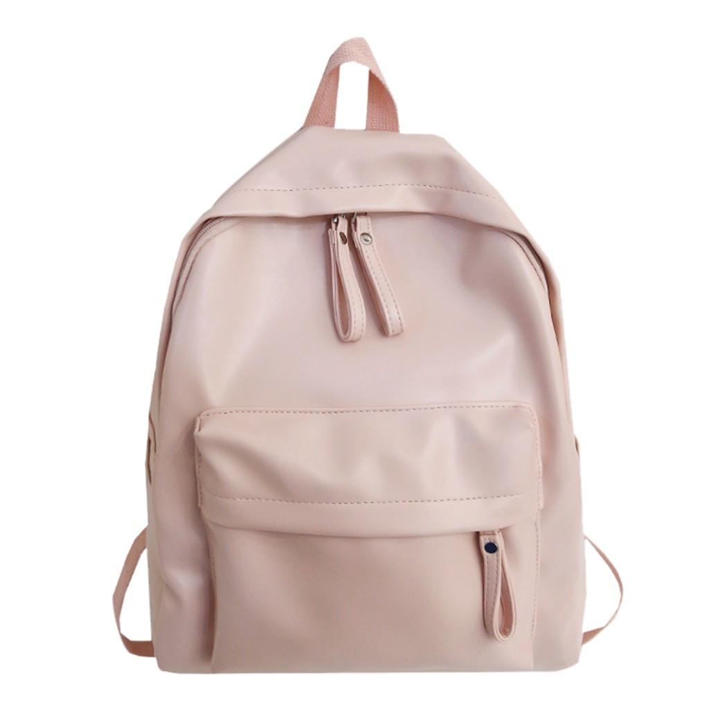 Женский кожаный рюкзак розовый(пудра) большой.