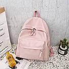 Женский кожаный рюкзак розовый(пудра) большой., фото 2