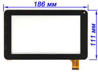 Сенсор (тачскрин) для планшета Assistant AP-720 черный 186*111 мм, фото 1