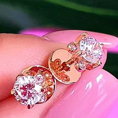 Золотые серьги-пуссеты с фианитом - Золотые серьги-гвоздики с камнем