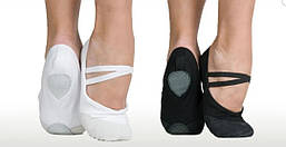 Балетки для танцев и гимнастики. Материал: ткань+кожа.