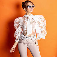 Женская кружевная белая блуза May (MC19939) M/L