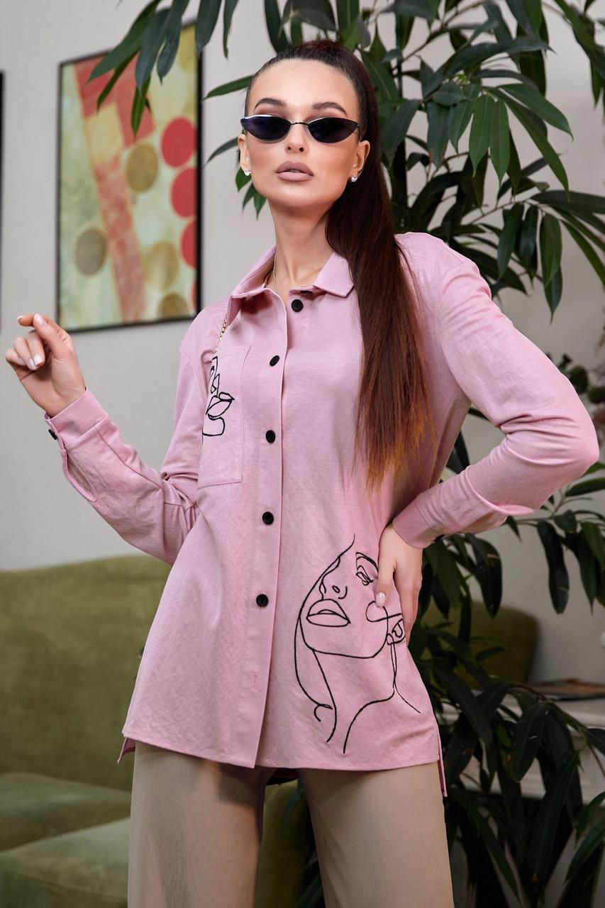 Рубашка 1327.4012 сиреневый с черной вышивкой (S-XL)