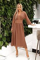 Длинное платье из шифона сетки в горох