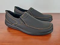 Туфли мокасины мужские удобные черные прошитые (код 9971), фото 1