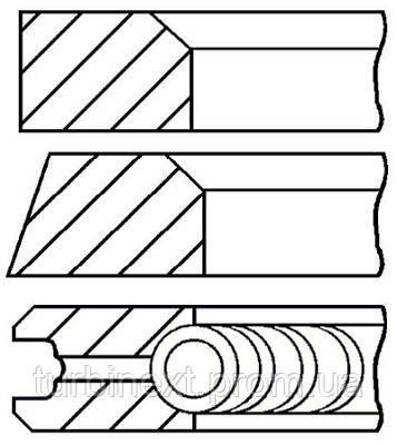 Кольца поршневые VW 77.5 (1.75/2/3) 1.6D/2.4D GOETZE 08-405211-00