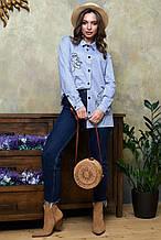 Рубашка 1327.4010 голубой с черной вышивкой (S-XL)