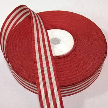 Лента - тесьма репсовая 2 см, бело-красная полоска