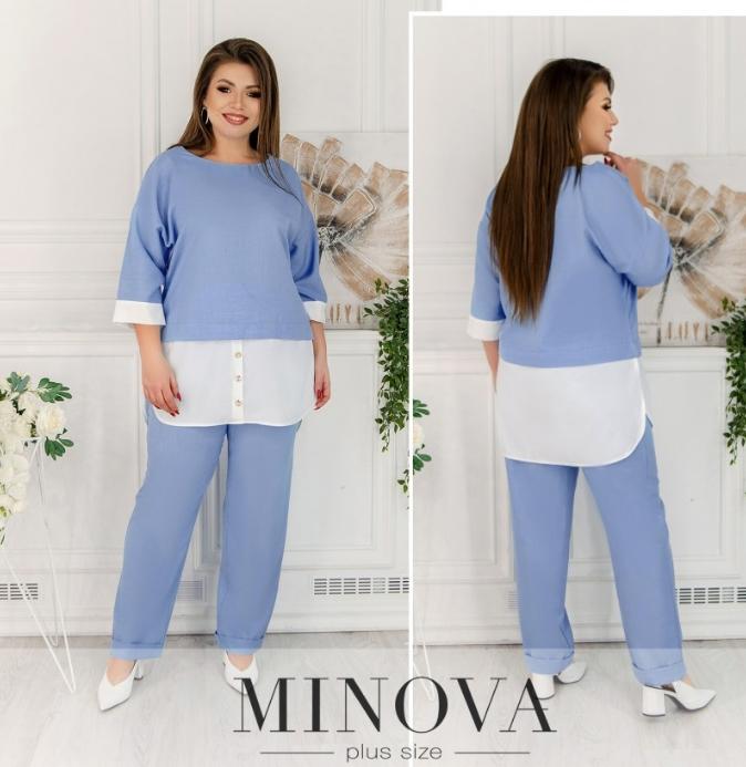 Льняной брючный костюм голубого цвета батал Фабрика моды Украина Размеры: 50-52, 54-56