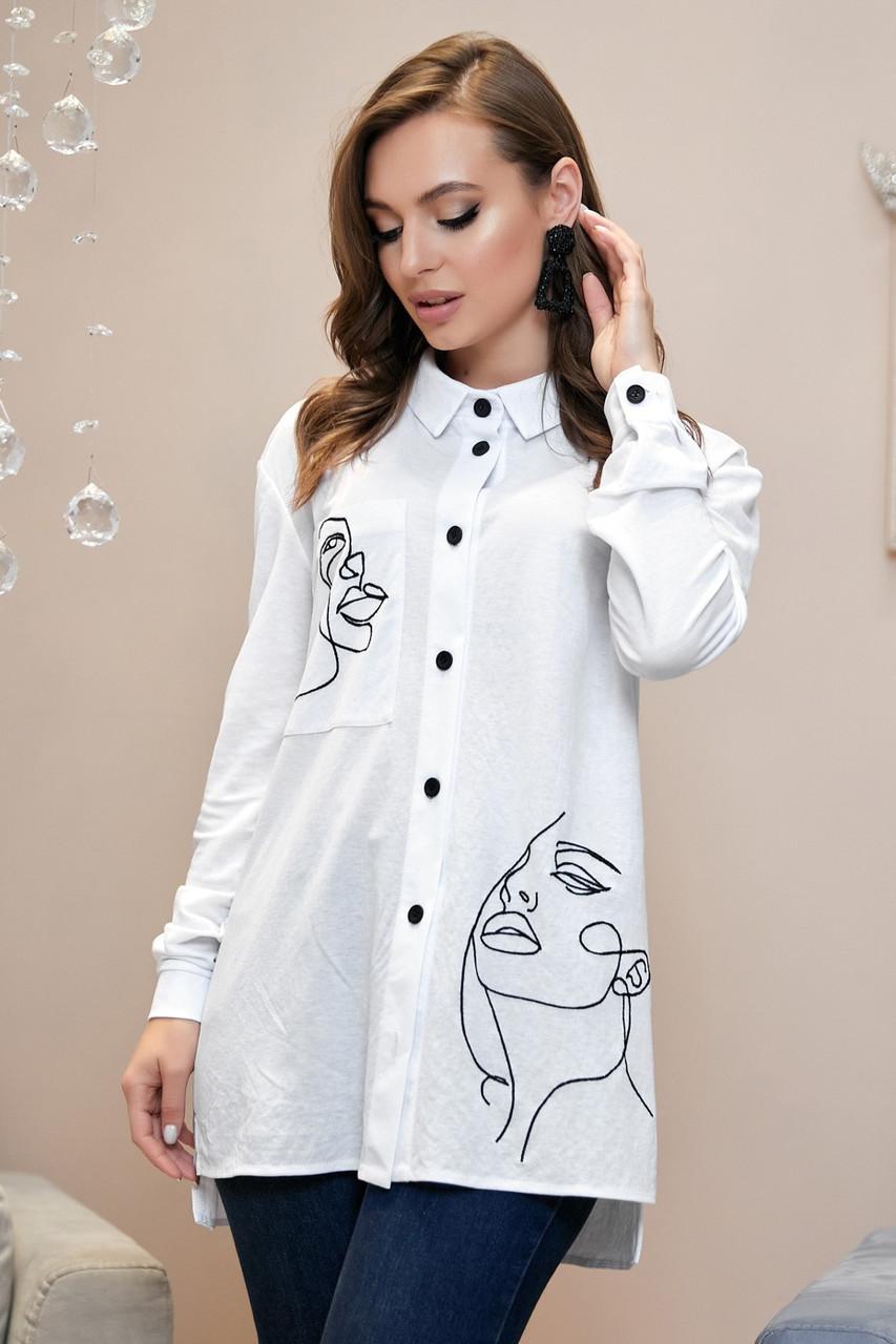 Рубашка 1327.3998 белый  с черной вышивкой (S-XL)