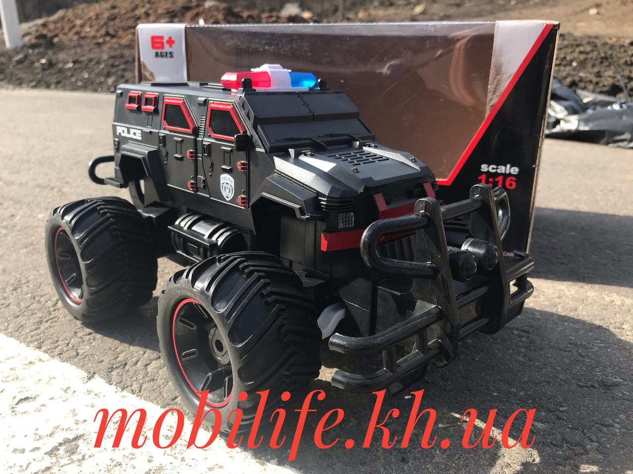 Большой Джип Полиция 27см/Горят Мигалки/большие резиновые колеса/Красный!