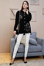 Рубашка 1327.4008 черный с белой вышивкой (S-XL)