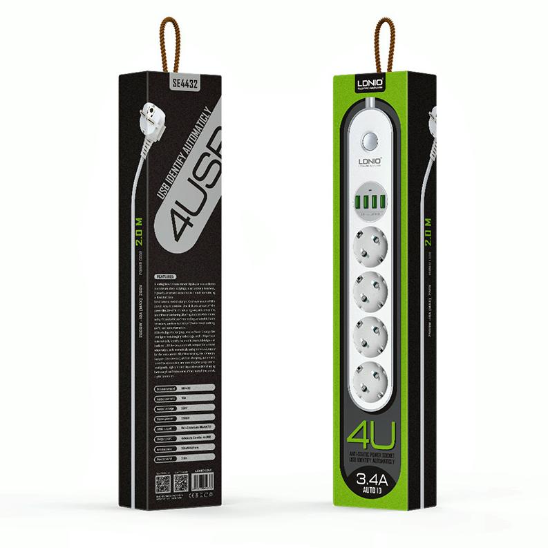 Сетевой фильтр LDNIO SE4432 4 USB порта