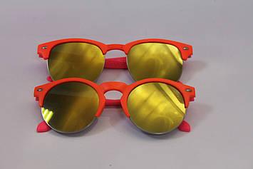 Дитячі сонцезахисні окуляри круглі помаранчева оправа