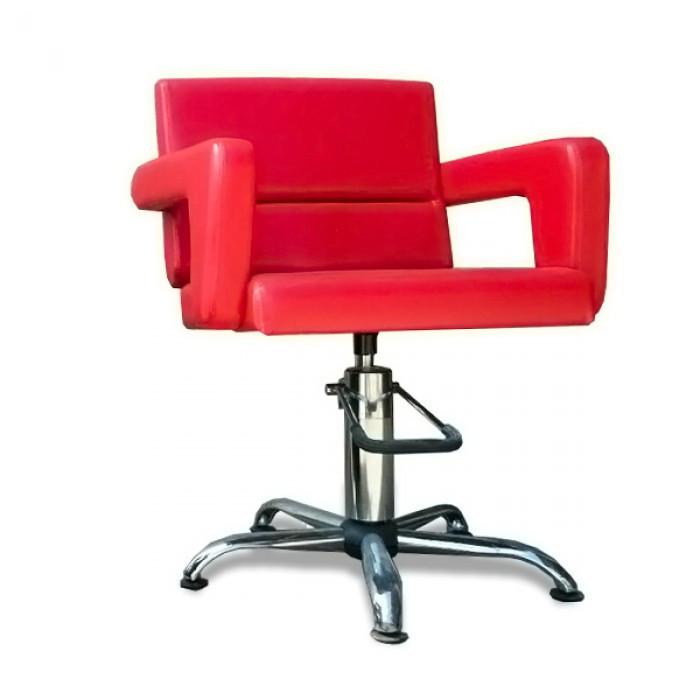 Парикмахерское кресло-эконом вариант с мягкими подлокотникам модель Фламинго(пневматика+хром)