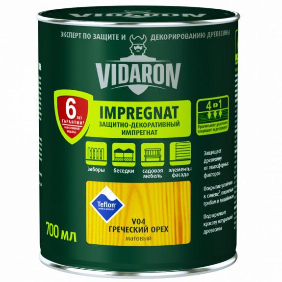 Импрегнат для древесины защитно декоративный V04 Vidaron ГРЕЧЕСКИЙ ОРЕХ  0,7л