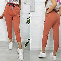 Женские спортивные брюки с поясом 7017 (42 44 46 48) (цвета: хаки, белый, черный, персик) СП, фото 1