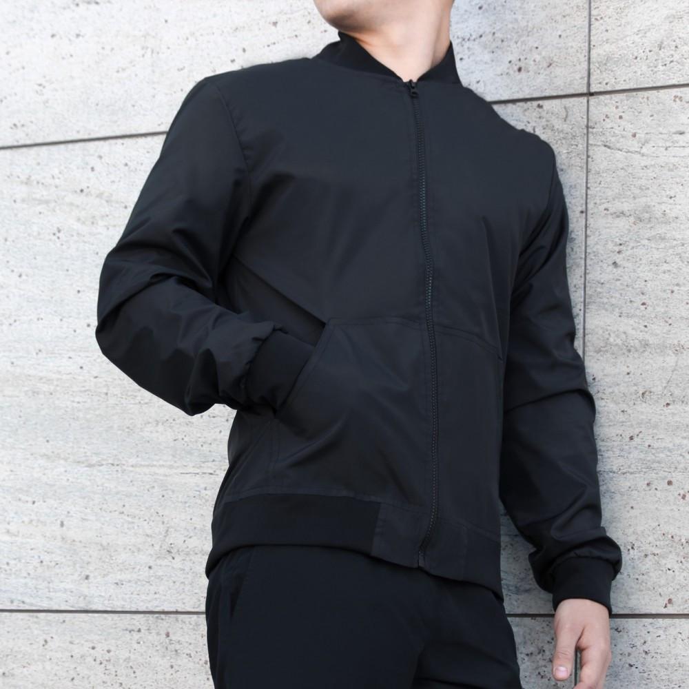 Бомбер-куртка,Весняний,чоловічий чорний