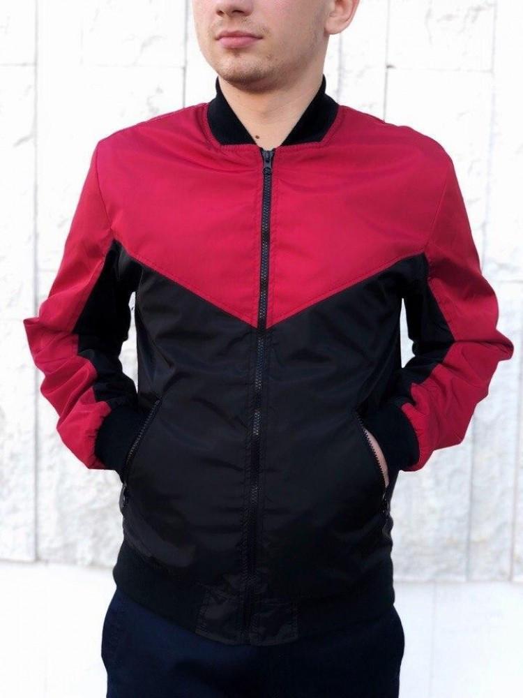 Бомбер Весняний чоловічий Червоно-чорний