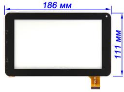 Сенсор (тачскрин) для планшета Jeka JK-701 (тип 2) черный 186*111 мм