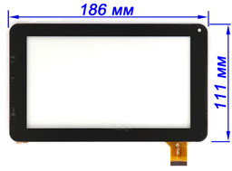 Тачскрин, сенсор планшета Globex GU 701R черный 186*111 мм