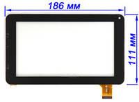 Тачскрин, сенсор планшета Globex GU 701R черный 186*111 мм, фото 1