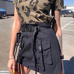 Спідниця міні з кишенями і поясом жіноча стильна розміри 42 44 46 Новинка є кольори