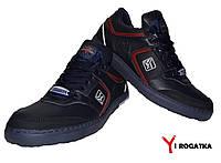 Мужские кожаные кроссовки SPLINTER. Черные с красными вставками