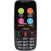 Кнопочный телефон для пожилых людей с клавиатурой на украинском языку Sigma Comfort 50 Elegance3 Black