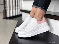 Кроссовки женские,подростковые Alexander McQueen,белые с розовым, фото 1