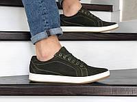 Мужские кожаные кроссовки,кеды Wrangler,темно зеленые