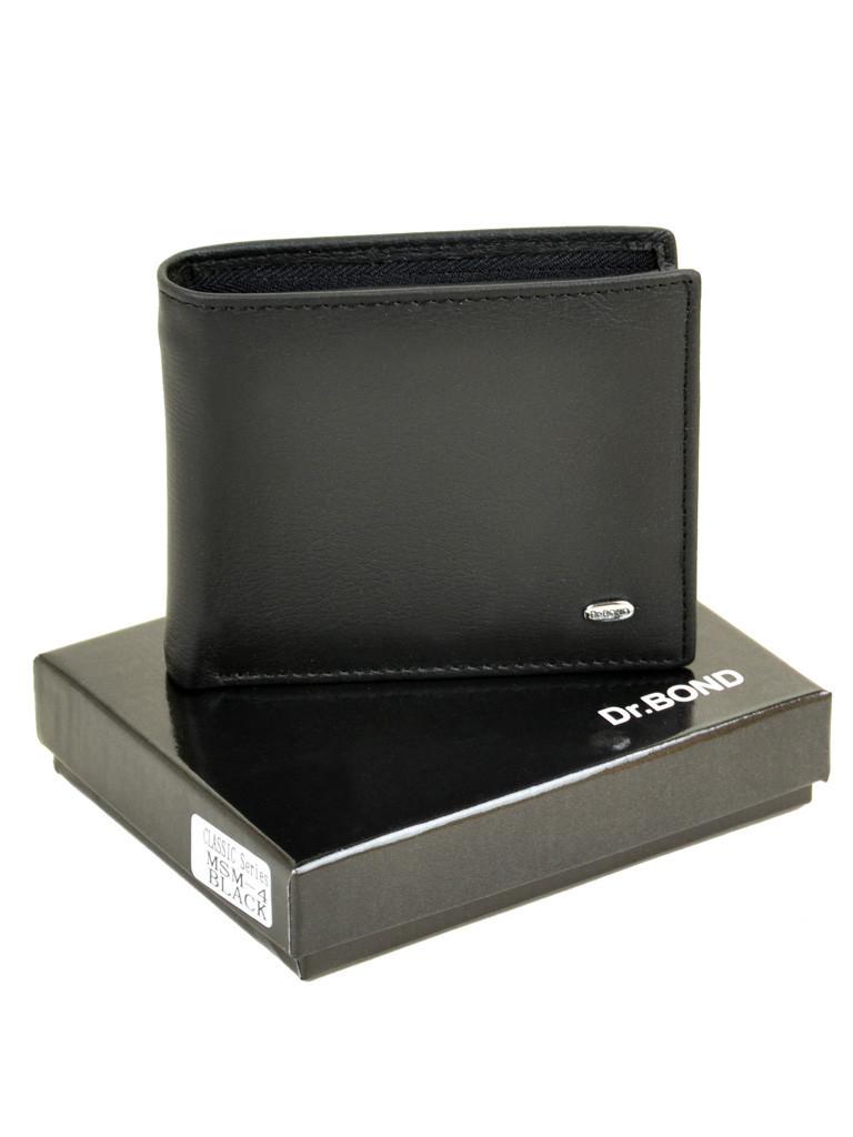 Мужской кожаный кошелек Dr.Bond черный 3644