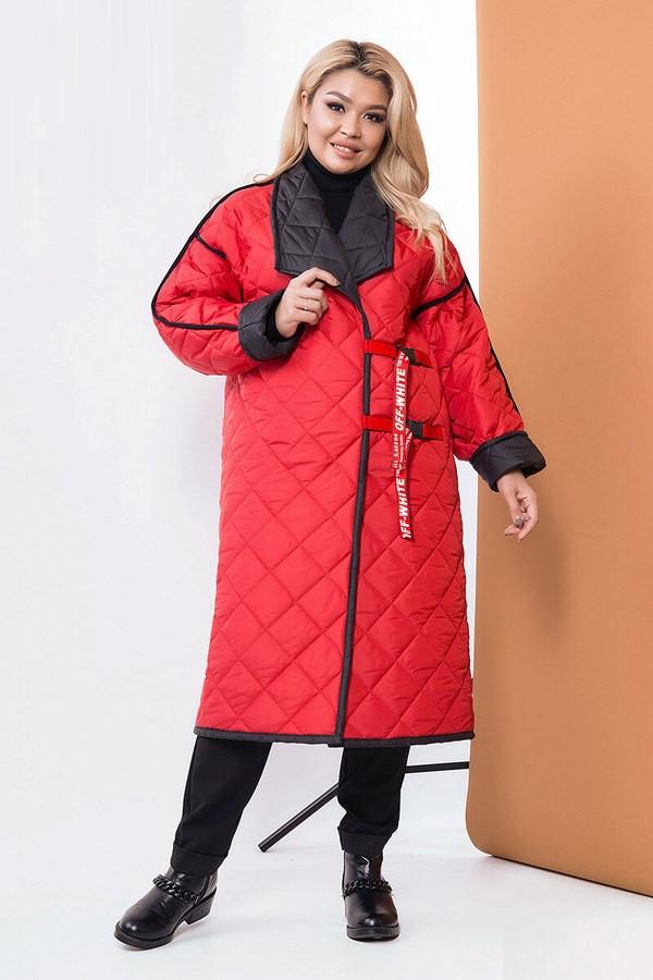 Стеганное демисезонное двухстороннее пальто 58567 (48–58р) в расцветках