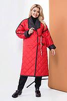 Стеганное демисезонное двухстороннее пальто 58567 (48–58р) в расцветках, фото 1
