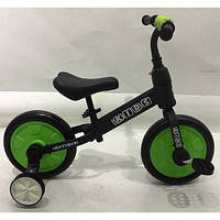 Беговел детский PROFI KIDS М 5452-2 педали колеса 12 дюймов черно-зеленый