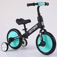 Беговел детский PROFI KIDS М 5452-3 педали колеса 12 дюймов черно-голубой