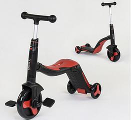 Беговел велосипед детский OlaBaby 3 в 1 SC20109 самокат, свет, 8 мелодий, трансформер Красный