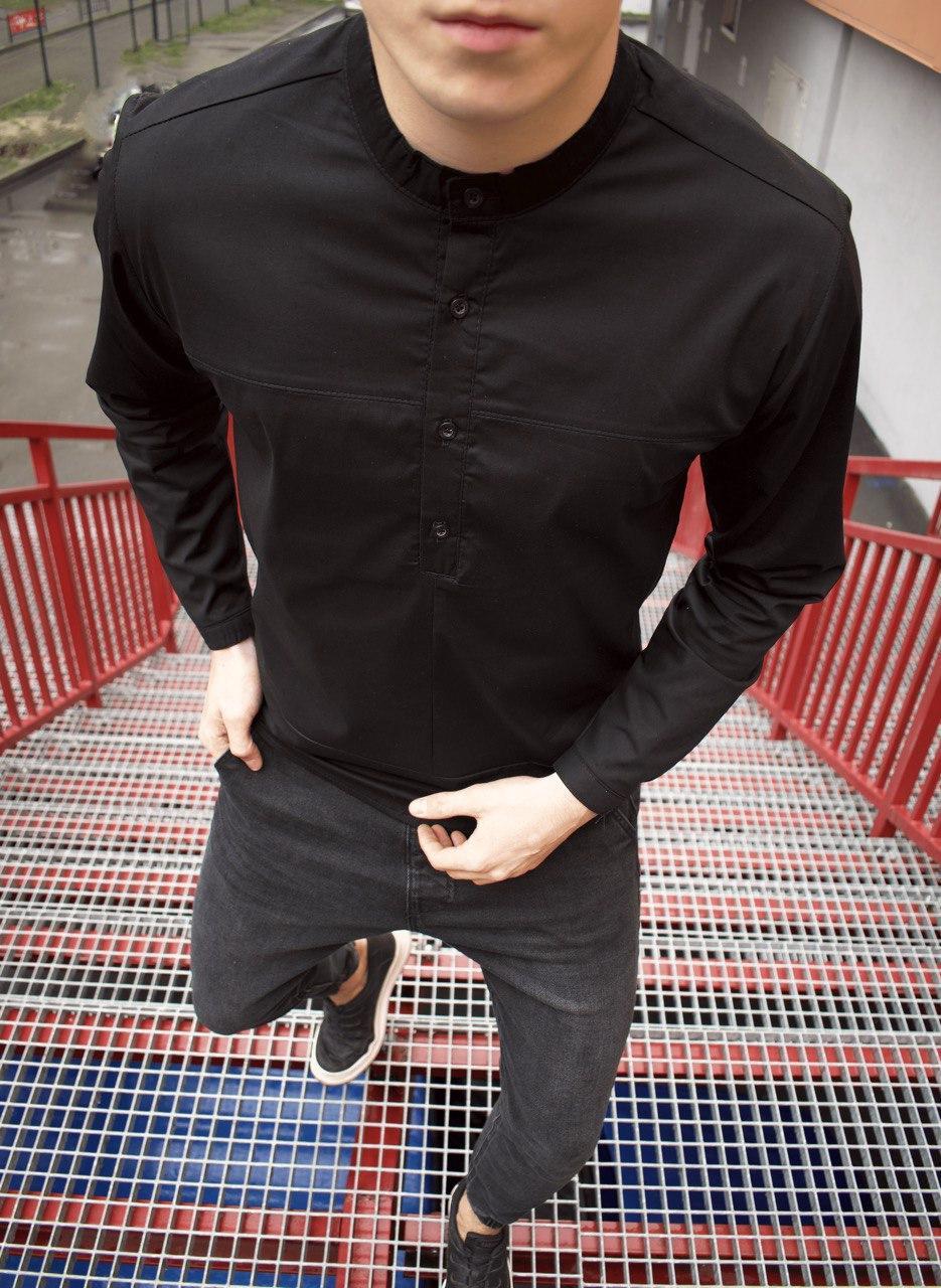 Мужская Рубашка Молодежь Черная