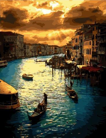Картина по номерам 40х50см. GX34381 Закат в Венеции Rainbow